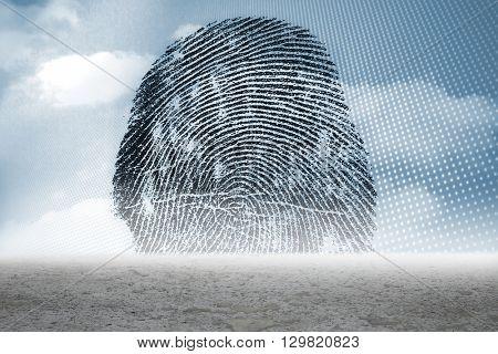 Digitally generated Thumbprint graphic over desert