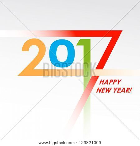 Creative text 2017 in flat design. New year graphic design creative card. Different color digits 2017. Vector illustration