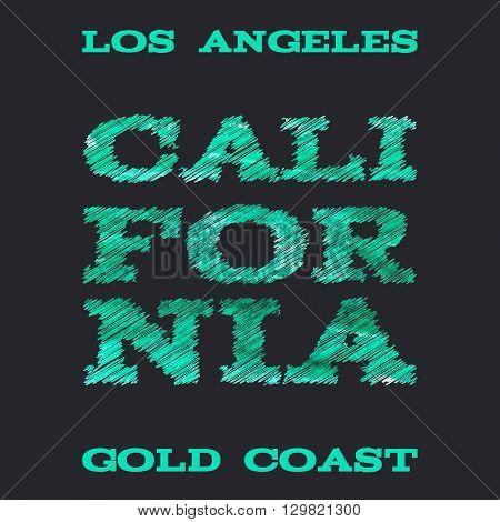 California surf typography t-shirt graphics vectors illustration