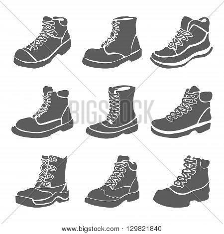 Set of nine different boots illustration isolated on white background vector