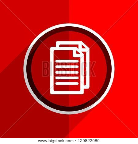 red flat design document web modern icon