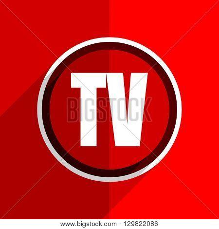 red flat design tv web modern icon