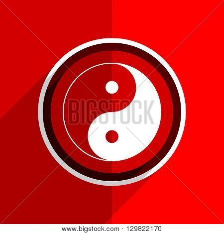 red flat design ying yang web modern icon