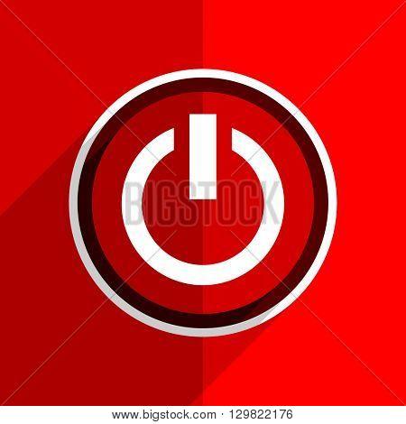 red flat design power web modern icon