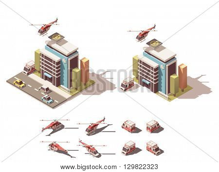 Vector Isometric icon  representing hospital, ambulance van and ambulance helicopter