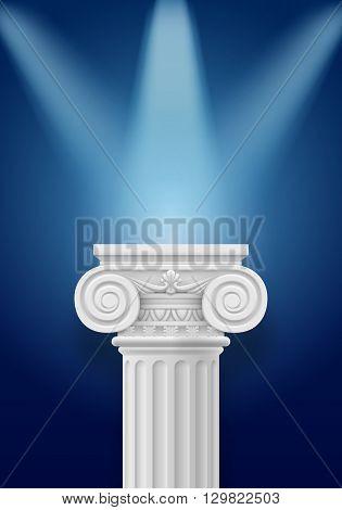 White column illumination projectors on darkblue background