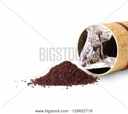 Granulated tea and an open box on the white