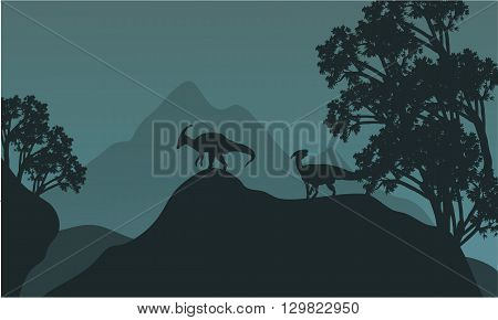 Silhouette of parasaurolophus in hills at the night