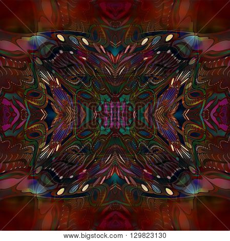 motley kaleidoscope abstract ornament on red background