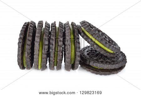Matcha green tea cookies on white background
