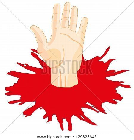 Human hand in puddle of the red liquid