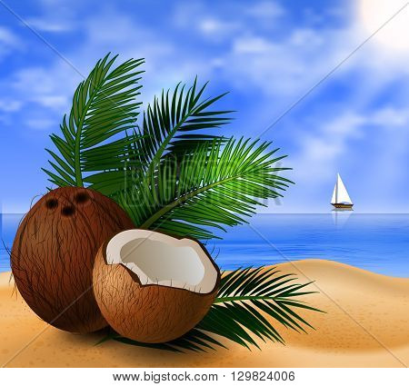Coconut tropical nut fruit with cut vector illustration on a beach  background with tropical palm leaves and a boat