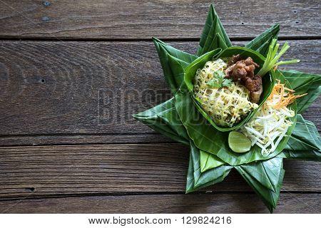 Pad Thai Thailand Food On Banana Lea