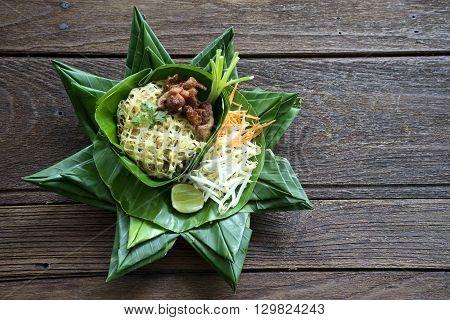 Pad Thai Thailand Food On Banana Leaf