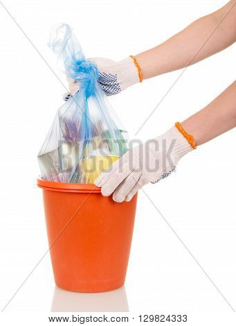 Hands shaking package waste in buckets isolated on white background.