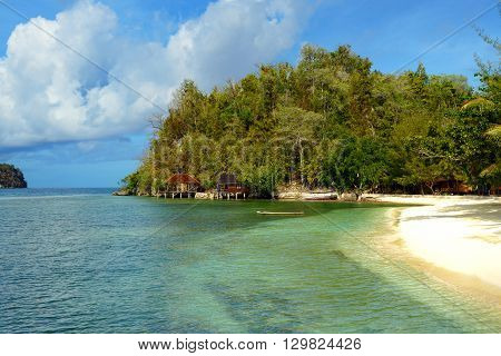 Beach On Bolilanga Island. Togean Islands