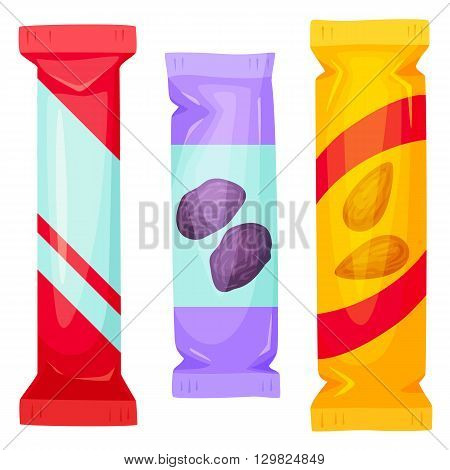Chocolate bars pack. Snack bar packing vector illustration. Muesli bar - healthy snack. Fast food. Cartoon candy bar packaging. Wrapper for candy bar blank. Packing template