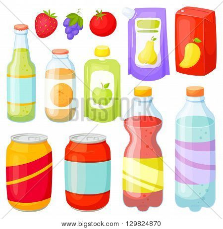 Drinks and soda bottle set. Beverage packaging:  plastic ans glass bottles, cans, doy pack, jars, box. Bottles and cans of soda, cola, water, juice, soft drinks. Design of bottles and cans for drinks