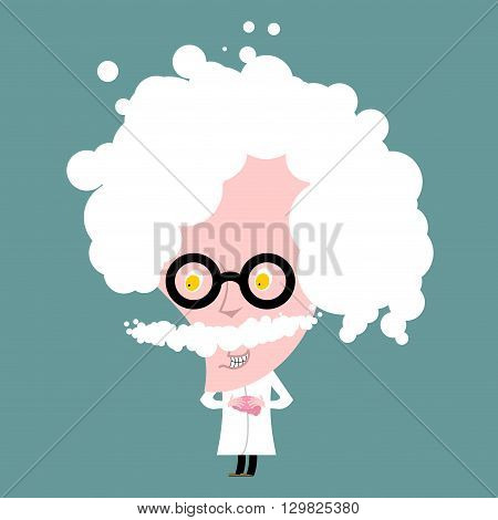 Crazy Professor In White Coat. Nutty Scientist Keeps Brain. Scientific Worker Of Glasses. Genius Gra