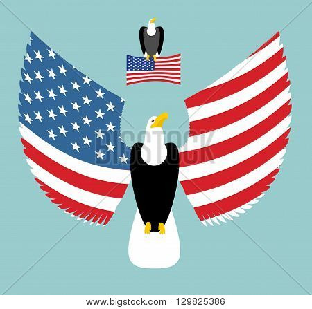 American Eagle. Most Powerful Bird And Us Flag. Emblem For America. Winged Predator With Wings. Stat