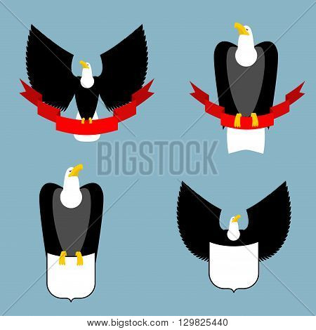 Eagle And Red Ribbon Set. Black Bird Predator. Hawk And Shield. Collection For Emblem And Emblems Fo