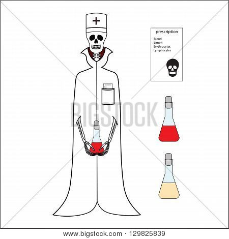 Skeleton doctor in medical gown and cap. Funny skeleton doctor with bulb and recipe,. Cartoon skeleton doctor. Vector skeleton doctor on a white background.