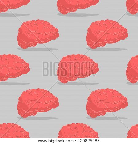 Brain seamless pattern. Central organ of nervous system pattern. Mind texture. Pink Brain background