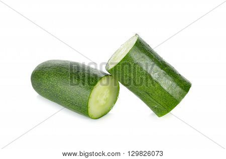 portion cut Japanese cucumber on white background