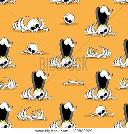 Vulture On Bones In Desert Seamless Pattern. Dead Desert Background. Griffon Gnaw Skeleton Ornament.