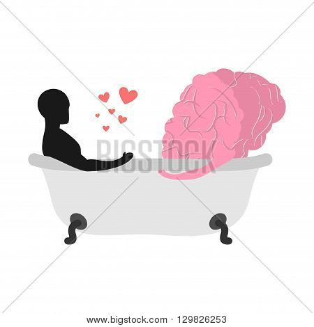 Love To Brain. Mind And Man In Bath. Man And Central Organ Of Nervous System To Clean Bath. Joint Ba