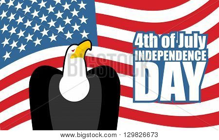 Independence Day Of America. Eagle And Usa Flag. National Holiday 4Th Of July. Bird Of Prey Traditio