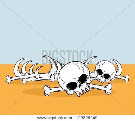 Skeleton In Desert. Skull And Bones Lying On Yellow Sand. Dead Desert Landscape
