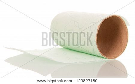Ending toilet paper roll isolated on white background.