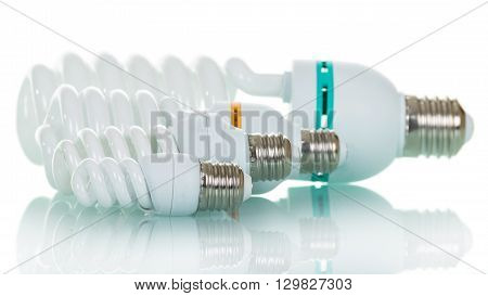 A set of fluorescent lamps, isolated on a white background.