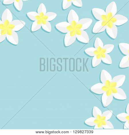 Plumeria Frangipani Tropical flower icon set. Hawaii Bali plant Flower frame corner. Blue background. Flat design Vector illustration
