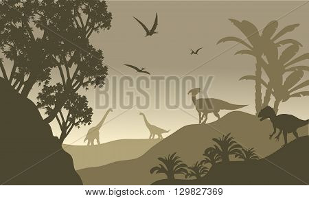 Scenery dinosaur of silhouette with brown backgrounds