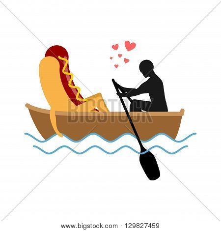 Man And Hot Dog In Boat Ride. Lovers Of Sailing. Man Rolls Fast Food On Gondola. Appointment Of Food