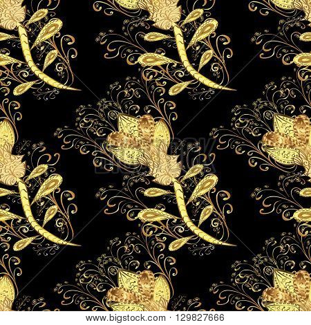 Abstract beautiful background with golden flowers, royal, vintage, rich seamless pattern, luxury, artistic vector wallpaper, floral, oldest style fashioned arabesque fabric for decoration and design.