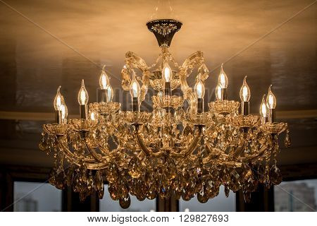crystal chandelier lamp in macro photography glamour background