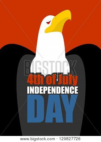 Independence Day America Great Eagle And Text On Chest. National Holiday In Usa