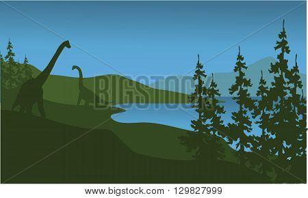 Silhouette of brachiosaurus in lake a beautiful scenery