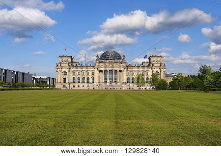View of famous Reichstag building seat of the German Parliament (Bundestag) Berlin Mitte Germany