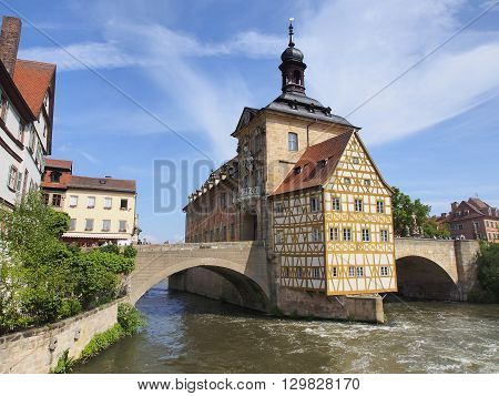 Old Town hall and cloudy sky in Bamberg Germany