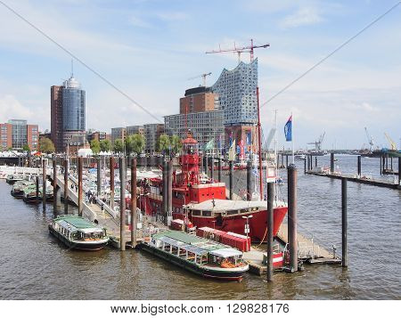 Hamburg Germany - may 09 2015. Holiday - the day of the port pleasure boats and red fireboat
