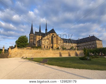 Scenic view Michaelsberg Abbey in Bamberg Bavaria Germany. The historic city center of Bamberg is a listed UNESCO world heritage site.