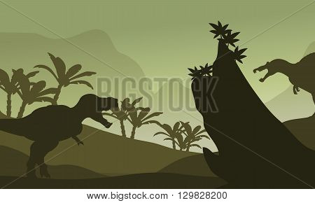 Silhouette of spinosaurus and T-Rex in fields