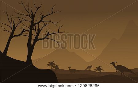 Silhouette of many dinosaur in fields with brown backgrounds