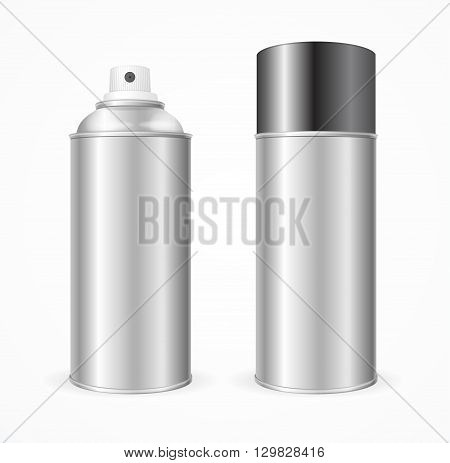 Aluminium Spray Can Template Blank. Mock Up  For Your Design. Vector illustration