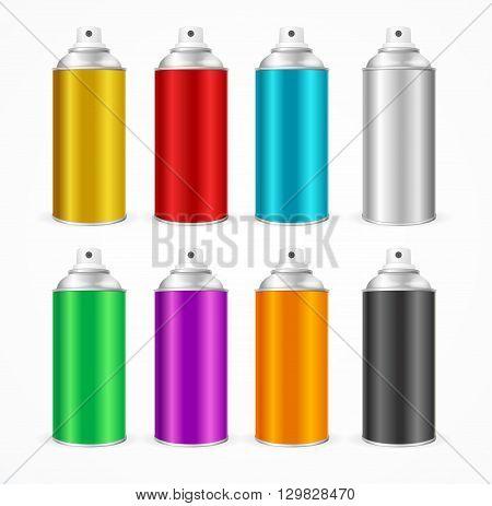 Aluminium Spray Can Template Blank. Colorful Set. Vector illustration
