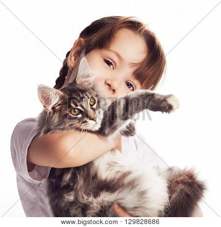 girl with a cat isolated against white studio background